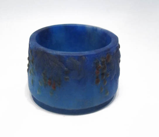 BLUE PATE DE VERRE GLASS BOWL, attributed to Victo