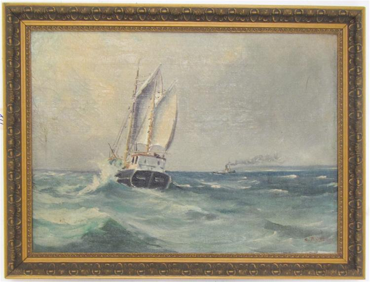 SEASCAPE OIL ON CANVAS, a sailing vessel and a tug