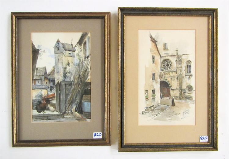 TWO GERMAN WATERCOLORS:  Street scene, Wimpfen, Ge