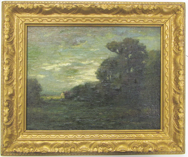 E. LOYD OIL ON BOARD, landscape at dusk with cotta