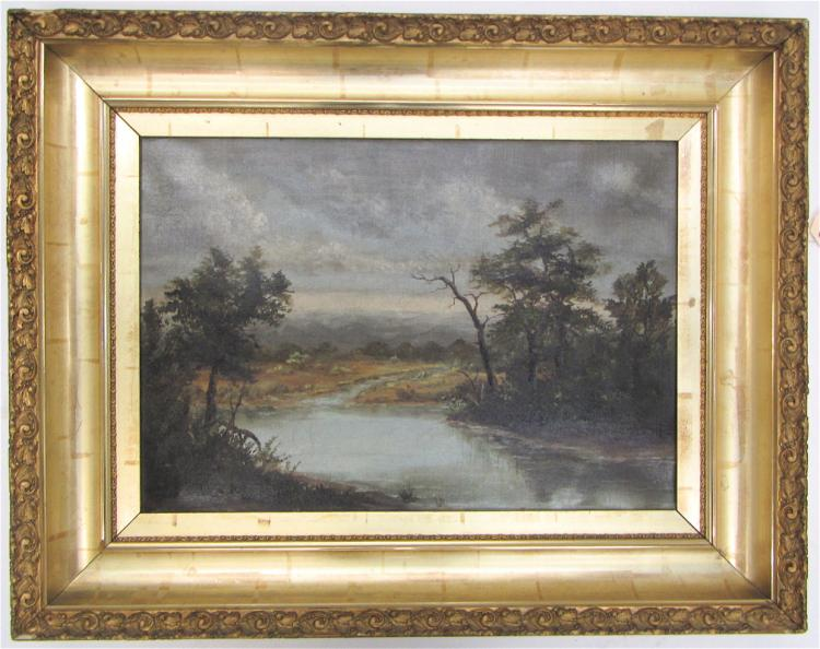 RIVER LANDSCAPE OIL ON CANVAS, late 19th century.