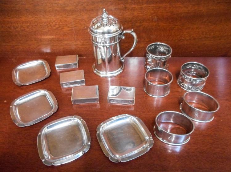 FOURTEEN STERLING SILVER TABLEWARE AND OTHER ITEMS