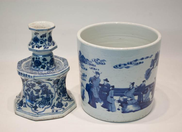TWO CHINESE BLUE AND WHITE PORCELAINS:  a Qing bru