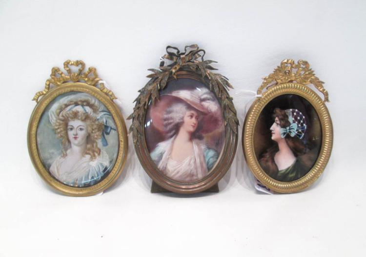 THREE OVAL MINIATURE PORTRAIT PAINTINGS in gilt me