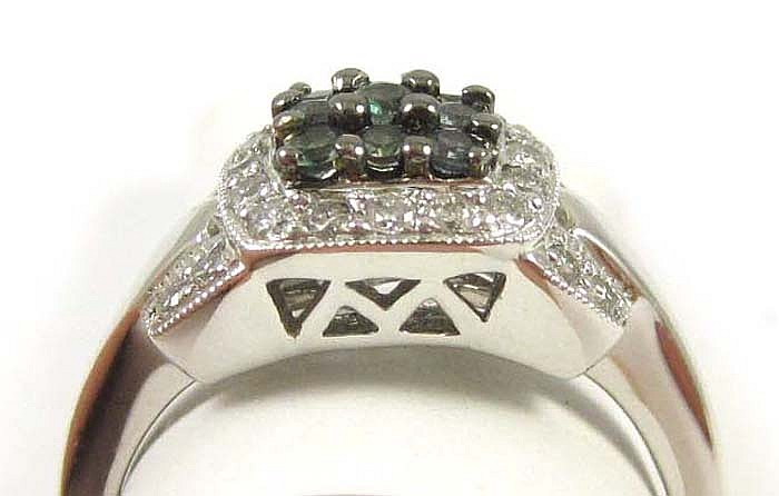 ALEXANDRITE AND DIAMOND RING, 14k white gold set