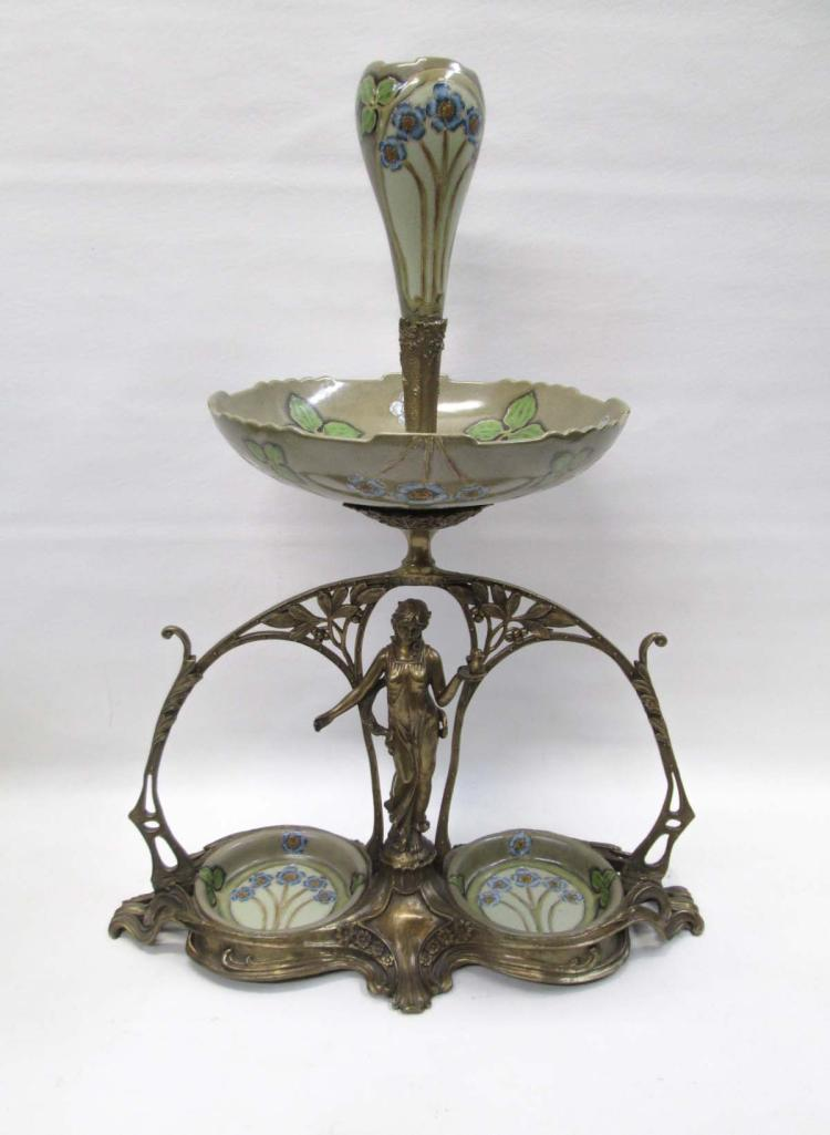 ART NOUVEAU STYLE GILT METAL AND POTTERY EPERGNE t