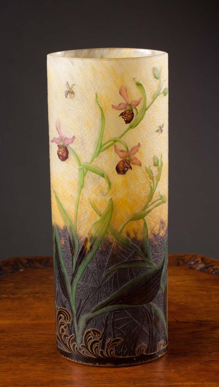 DAUM NANCY CAMEO GLASS VASE, the tall vase with el