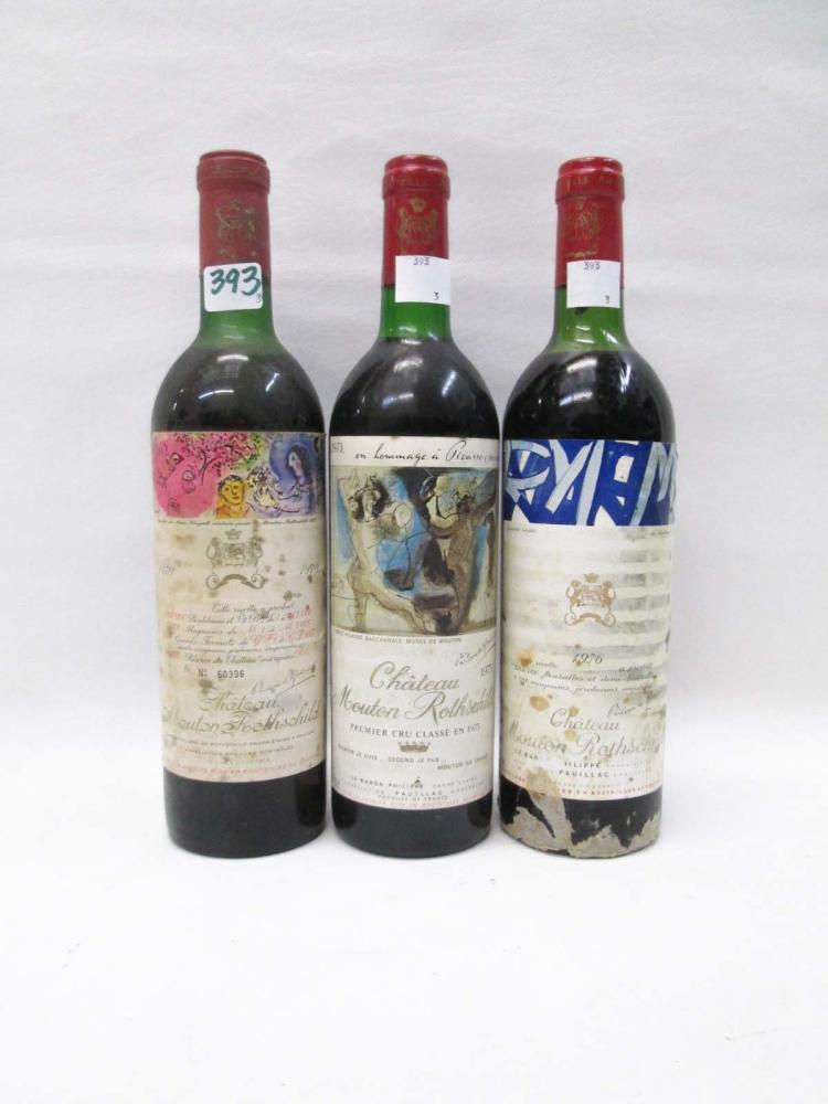 THREE BOTTLES OF VINTAGE FRENCH RED BORDEAUX WINE,