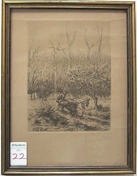 JEAN-CHARLES MILLET ETCHING ON PAPER (French,