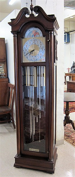 FIVE-TUBE TALL CASE FLOOR CLOCK, Colonial Mfg.