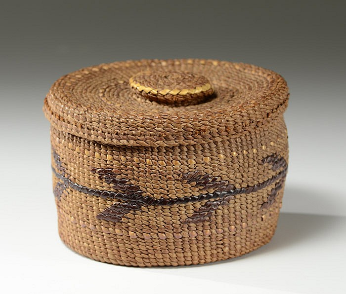 SALISH COVERED INDIAN BASKET, hand twined with