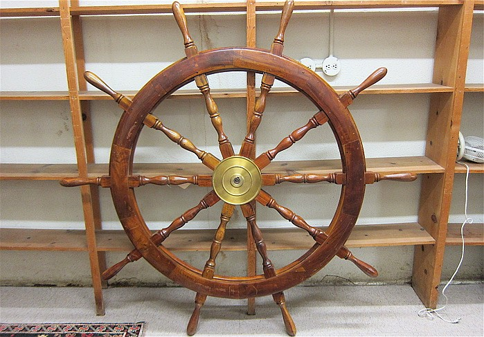 LARGE TEAK AND BRASS SHIP'S WHEEL, a circular