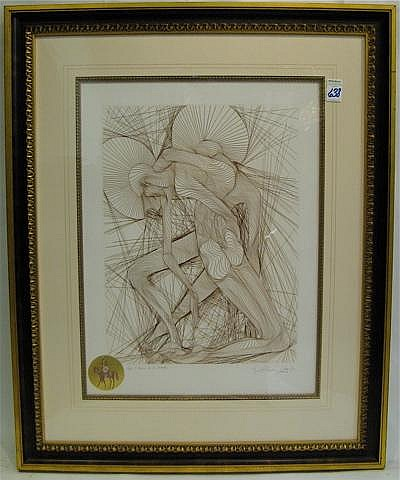 GUILLAUME A. AZOULAY ETCHING with remarque.