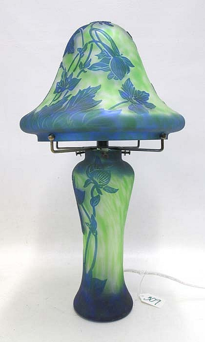 CAMEO GLASS TABLE LAMP, with blue floral design on