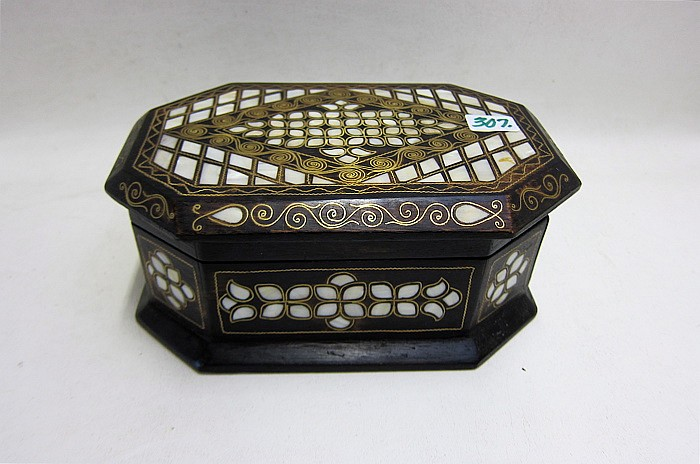 TURKISH HAND CRAFTED HARDWOOD JEWELRY BOX inlaid