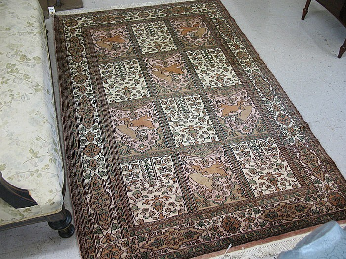 HAND KNOTTED ORIENTAL PANEL RUG, Indo-Persian,