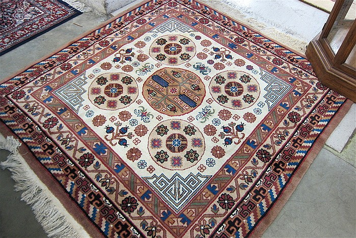 HAND KNOTTED ORIENTAL AREA RUG, Indo-Persian, five