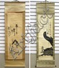 TWO CHINESE SUMI INK SCROLLS, one featuring a