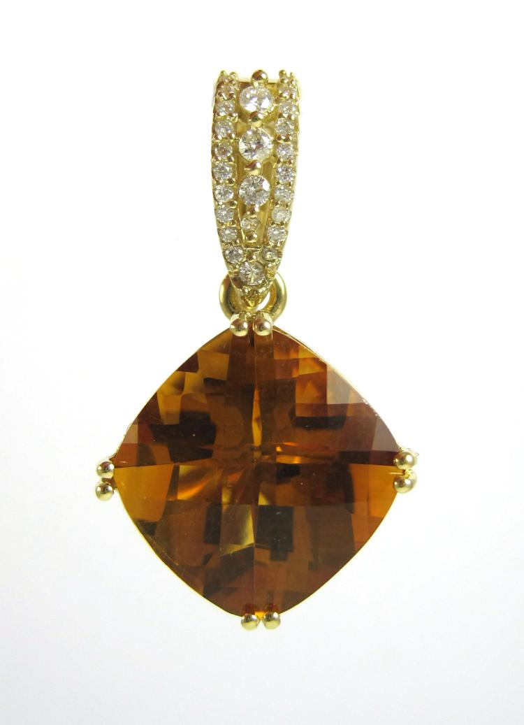 CITRINE, DIAMOND AND FOURTEEN KARAT GOLD PENDANT,