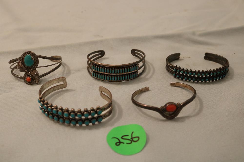 (5) Indian Sterling Bracelets