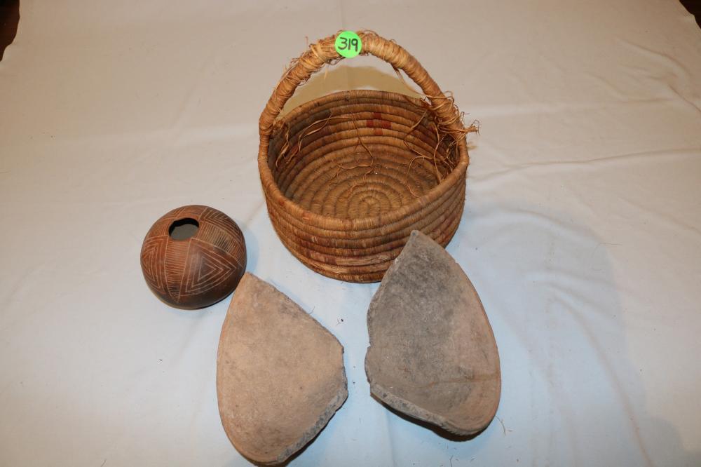 Woven Basket, Pottery Bowl, Pottery Bowl