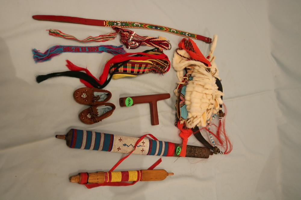 Catlinite Pipe and Two Stems, several beaded items
