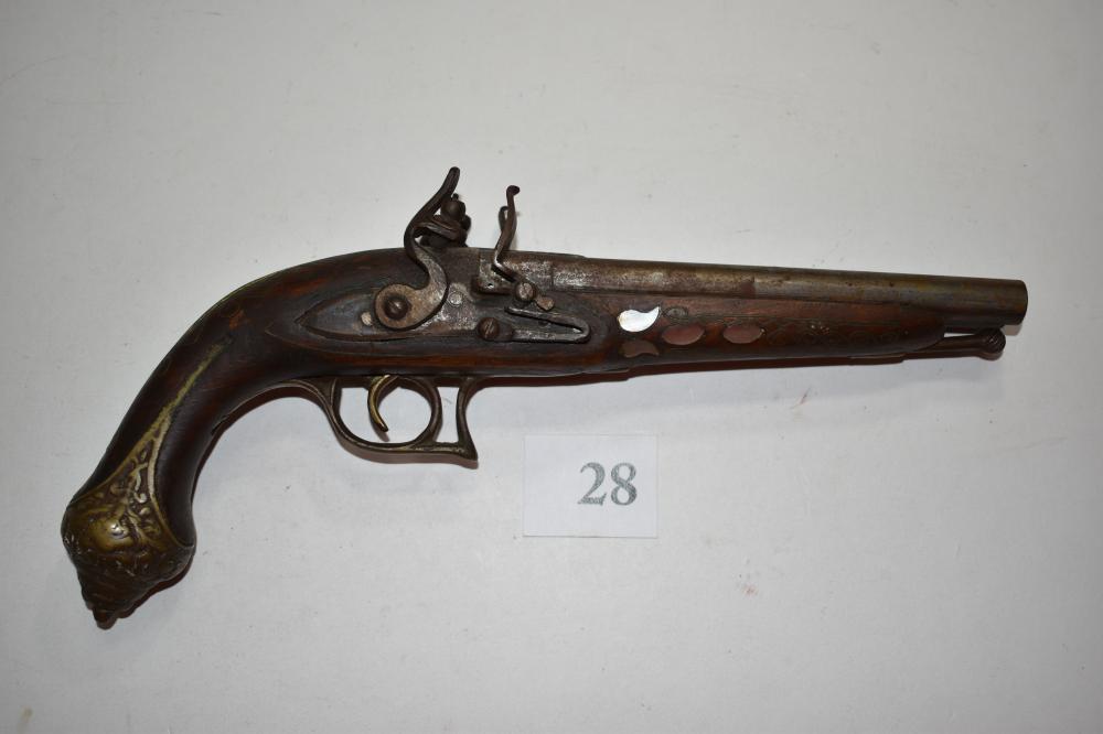 Antique Flintlock .50 Cal. Double Bbl. Pistol
