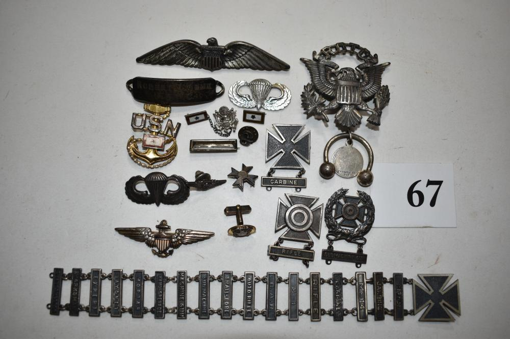 Sterling Silver Military Item Lot: Pins, Medals