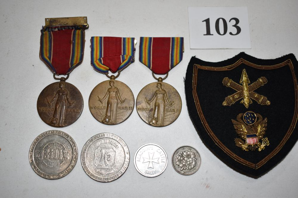 (3) U.S. WWII Medals, Patch, Two Casino Coins