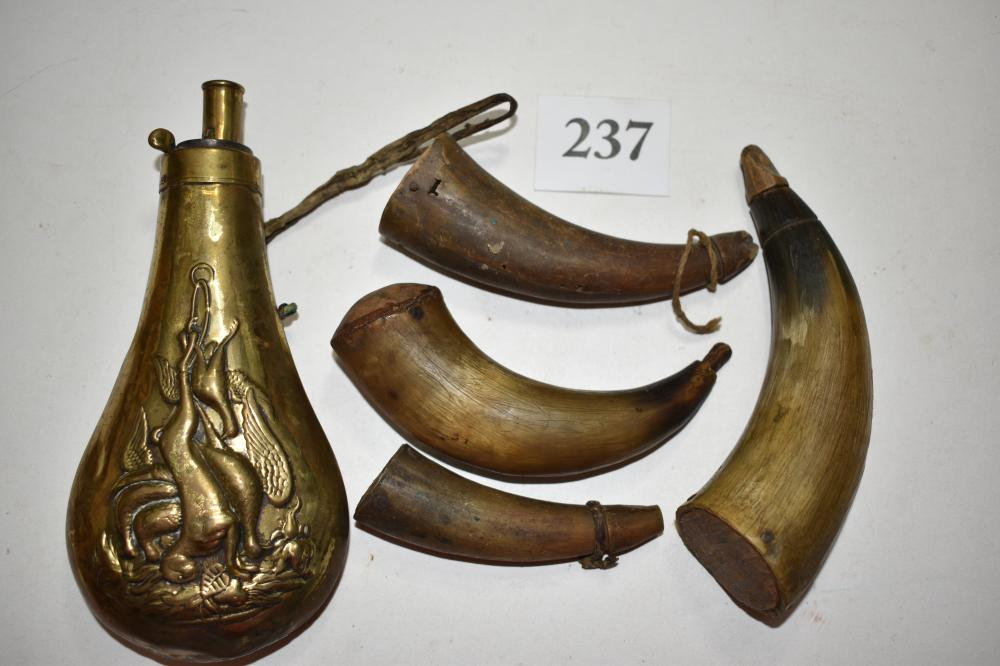 (4) Small Powder Horns and Brass Flask