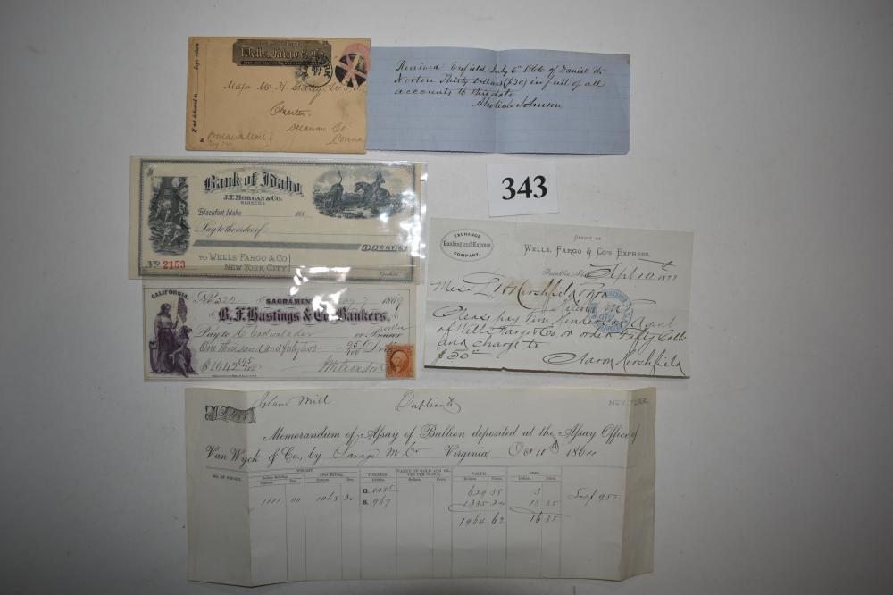 Wells Fargo 1860's-1870's Bank Notes