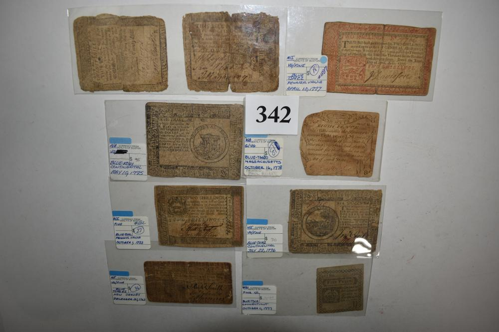 (9) 1770's Continental Paper Money