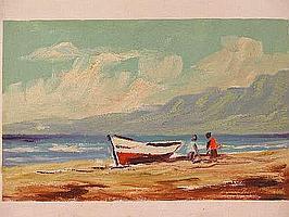 """Peter Daniel VAN BLOMMESTEIN (20thC) OIL ON BOARD ~ """"CAPE BOAT"""", 24 x 39cms"""