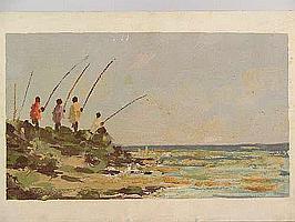 "Peter Daniel VAN BLOMMESTEIN (20thC) OIL ON BOARD ~ ""SHAD TIME"", 30 x 53cms"