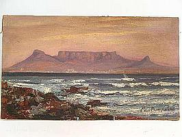 "Peter Daniel VAN BLOMMESTEIN (20thC) OIL ON BOARD ~ ""TABLE MOUNTAIN"", 36 X 61cms"