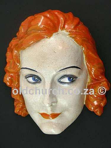 ART DECO KERAMOS TERRACOTTA WALL MASK BY RUDOLF PODANY, c1920, modelled as Greta Garbo