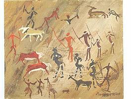"Peter Daniel VAN BLOMMESTEIN (20thC) OIL ON BOARD ~ ""AFRICA"", 50 x 60cms"