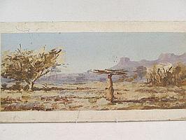 "Peter Daniel VAN BLOMMESTEIN (20thC) OIL ON BOARD ~ ""THE WOOD CARRIER"", 23 x 54cms"