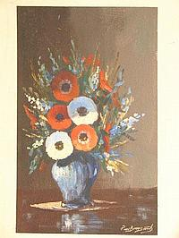 "Peter Daniel VAN BLOMMESTEIN (20thC) OIL ON BOARD ~ ""ANEMONIES"", 47 x 29cms"