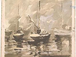 """Peter Daniel VAN BLOMMESTEIN (20thC) OIL ON BOARD ~ """"SMOG AND BOATS"""", 31 x 34cms"""