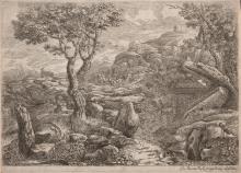 Giovanni Francesco Grimaldi - Landscape with sunken road