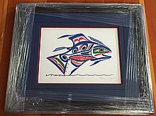 "Patrick Amos, Nuu-chah-nulth- ""salmon"" framed limited edition print"