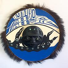 """Patrick Amos, Nuu-chah-nulth- a carved and polychromed, yellow cedar, moon mask. """"""""Final Journey"""" (24"""" diameter)"""