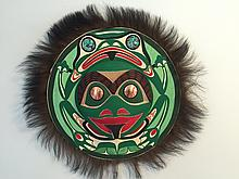 """Patrick Amos, Nuu-chah-nulth, a carved and polychromed, yellow cedar, frog moon mask, with fur, copper and abalone inlay. (15"""""""" diameter)"""
