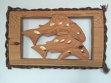 Patrick Amos, Nuu-chah-nulth, a carved red cedar, Salmon plaque with copper & cedar bark