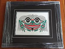 """Patrick Amos, Nuu-chah-nulth- """"Frog"""" framed limited edition print"""