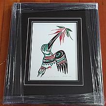 "Patrick Amos, Nuu-chah-nulth- ""Humming bird"" framed limited edition print"