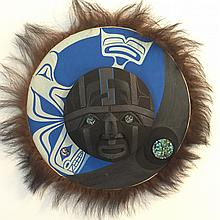 """Patrick Amos, Nuu-chah-nulth- a carved and polychromed, yellow cedar, moon mask, with fur and abalone inlay. """"""""Last Dive"""""""""""