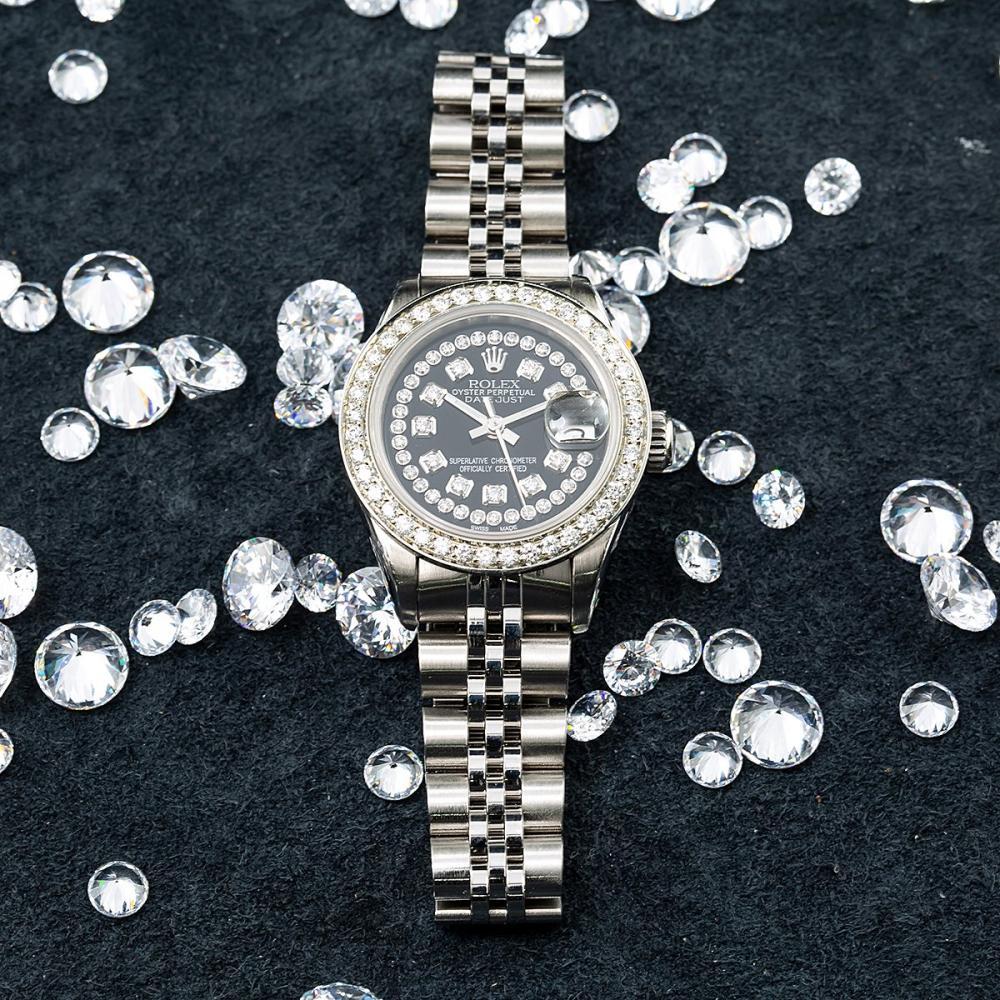 ROLEX LADIES DATEJUST 26MM BLACK DIAMOND DIAL AND DIAMOND BEZEL 2 CT OF DIAMONDS