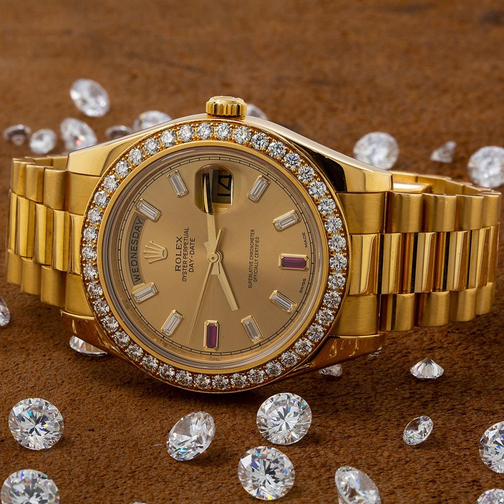 ROLEX DAY-DATE II 218348 40MM CHAMPAGNE DIAL FACTORY DIAMOND BEZEL
